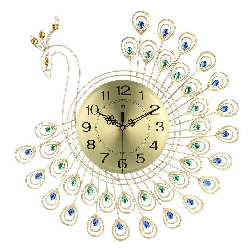 Luxury 3D Gold Diamond Peacock Wall Clock Home Goods Home Decor Kitchen & Dining