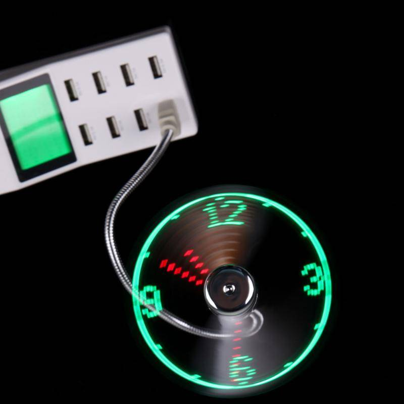 Hand Mini USB Fan portable Flexible Goose neck LED Clock real Time Display Electronics Cell Phones & Accessories Home Goods Home Decor