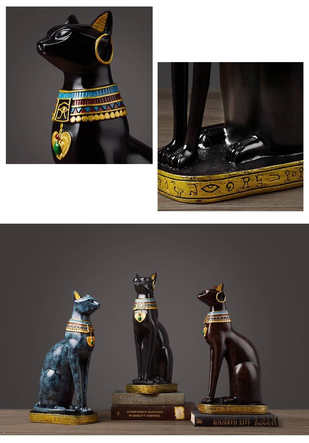 Egyptian Goddess Pharaoh Cat Vintage Home Decor Statue