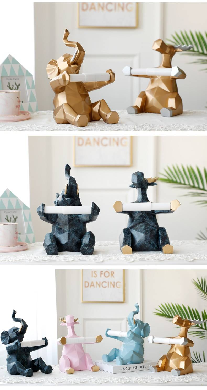 Elephant & Deer Statue Toilet Paper Holder Table, Living Room, Office ,Restaurant, Home Decor
