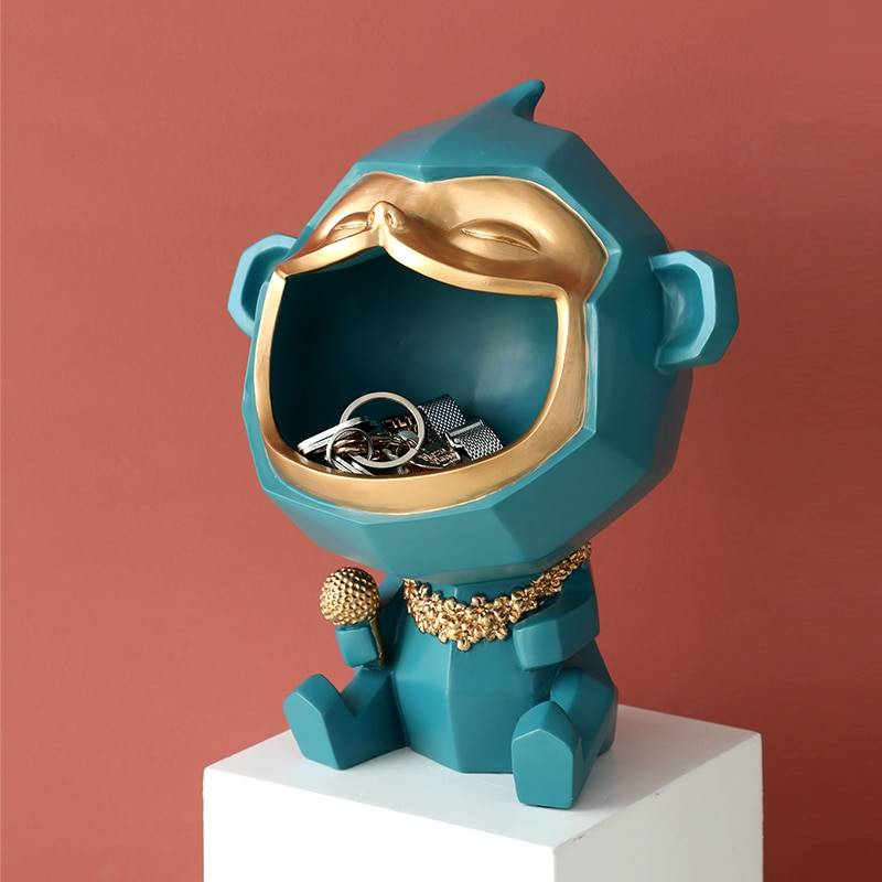 Big Mouth Monkey Decorative Figurines Storage box Sculpture Modern Art Statues Home Goods Home Decor