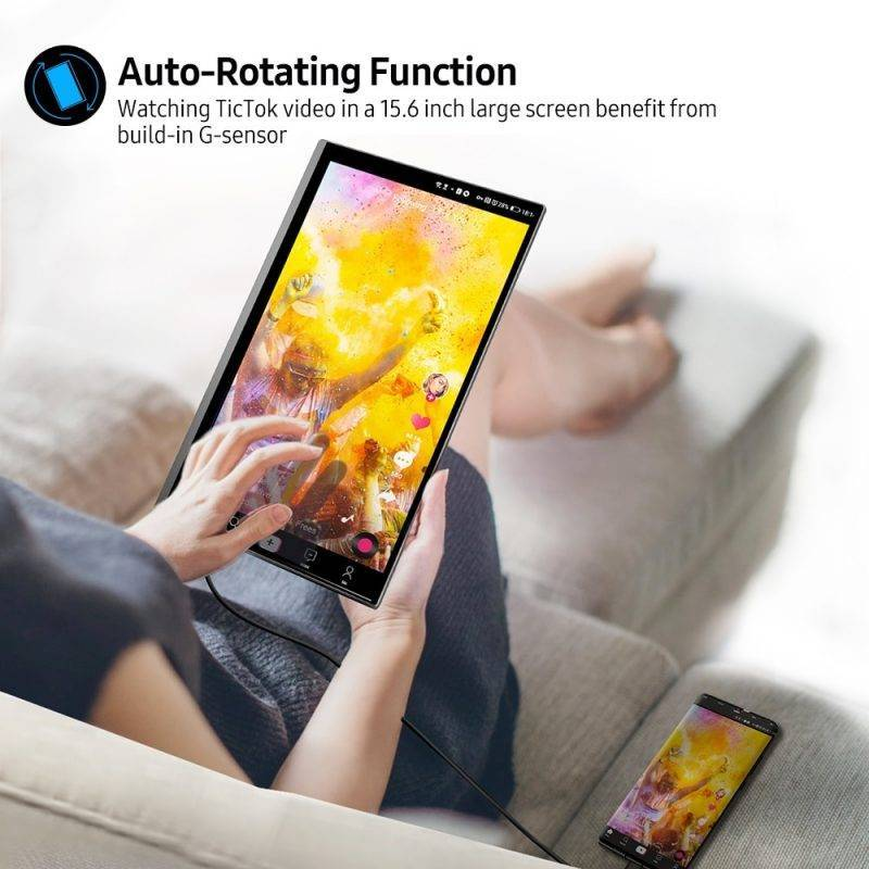 """UPERFECT 4K Portable Monitor Touchscreen Gravity Sensor Automatic Rotate 15.6"""" Slimmest 10-Point Touch UHD 3840×2160 Display Home Audio & Theater Electronics Cell Phones & Accessories"""