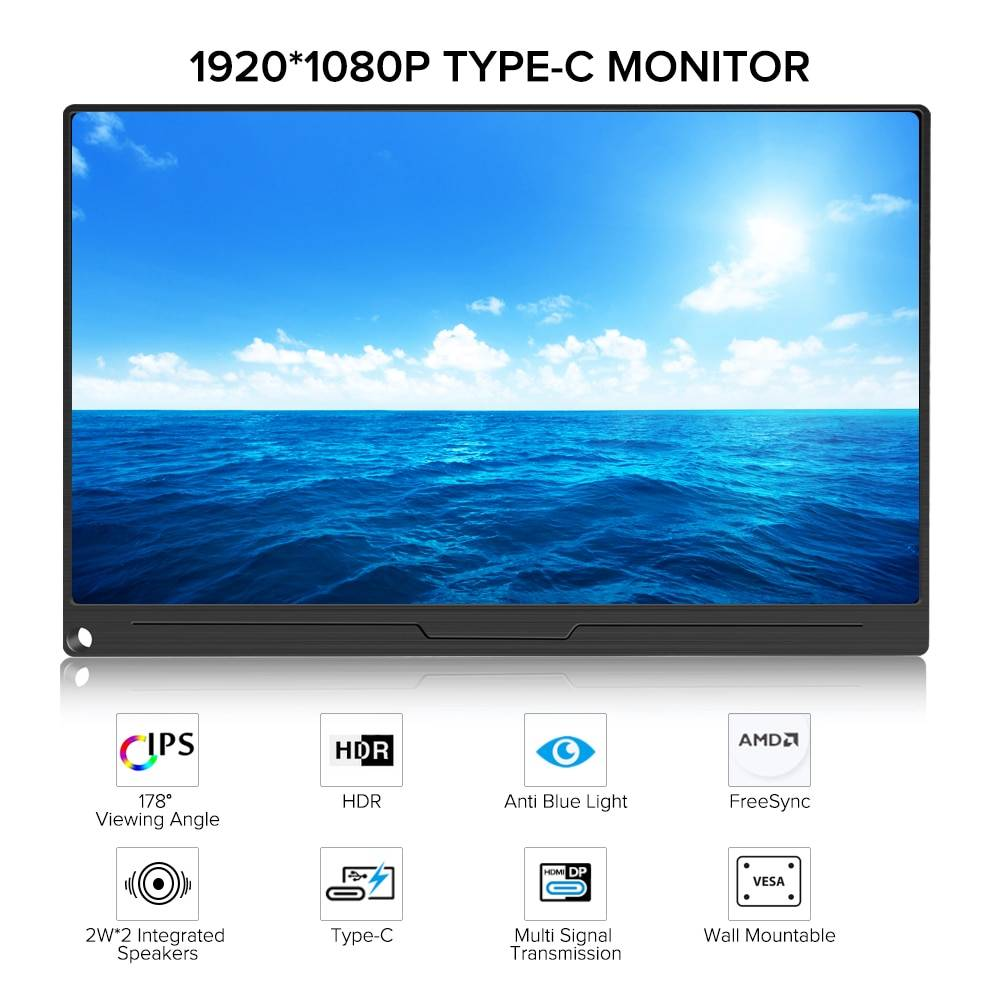 UPERFECT 15.6 Inch FHD Monitor HDR 1920X1080 IPS HDMI Type-C Screen Display Portable Gaming Dsiplay PS4 Raspberry PC Computer