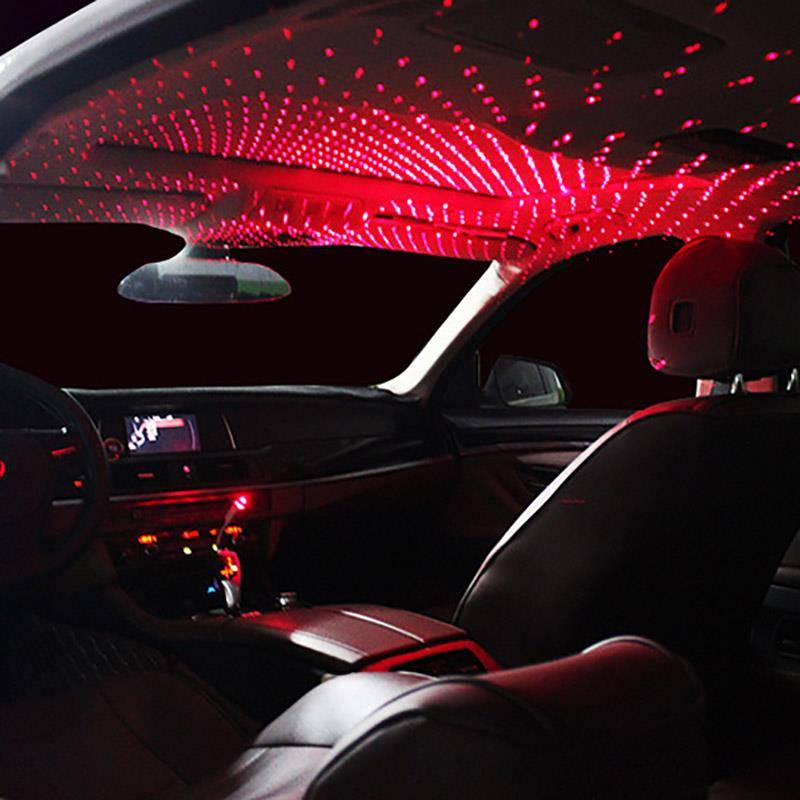 Onever Mini LED Car Roof Star Night Lights Projector Light Interior Ambient Atmosphere Galaxy Lamp Decoration Light USB Plug