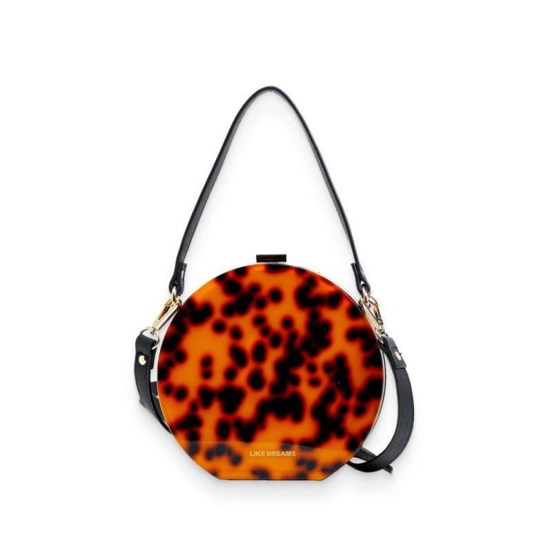 Premium Acrylic Tortoise Colored Circular Clutch Luggage & Bags Fashion Bags