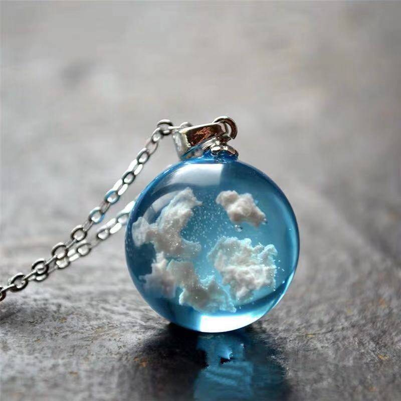 Blue Sky Cloud Resin Necklace Health & Beauty Tools & Accessories