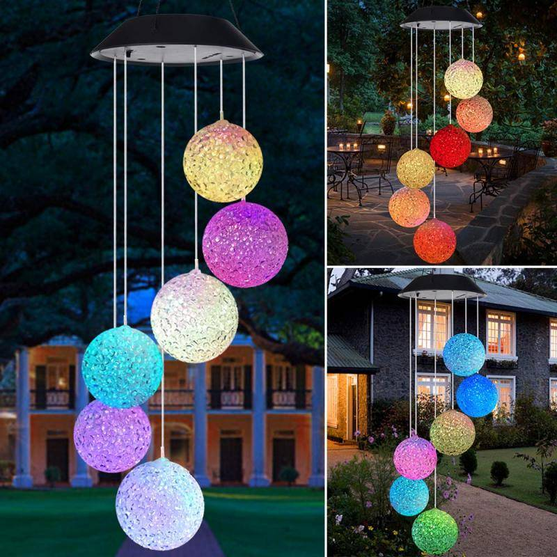 Solar Powered LED Wind Chimes Home Goods Home Decor
