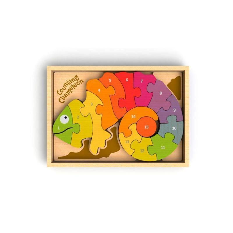 Counting Chameleon Puzzle. Bilingual! Baby & Kid's Accessories Learning & Education