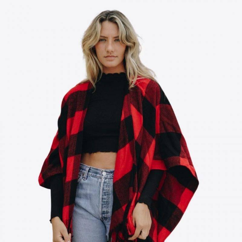 Buffalo Check Tassel Poncho Fashion Accessories Health & Beauty