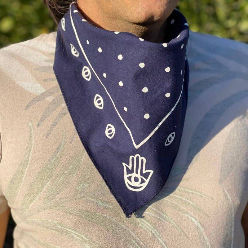 Hamsa & Dots Navy Bandana Fashion Accessories Health & Beauty