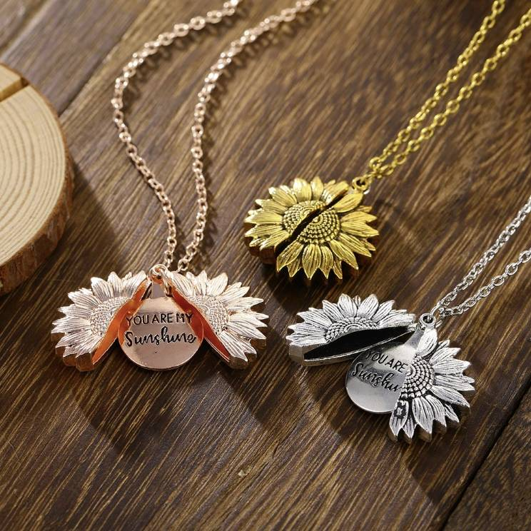 You Are My Sunshine Sunflower Pendant Necklace Fashion Accessories Health & Beauty
