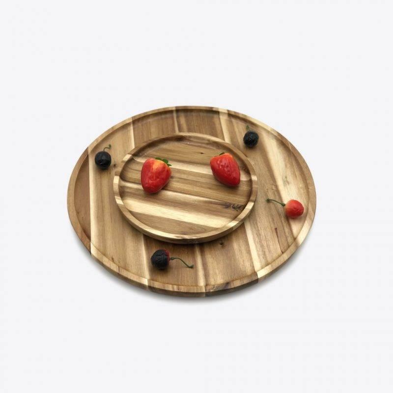 8″ Diameter Acacia Round Plate / Platter Home Goods Kitchen & Dining