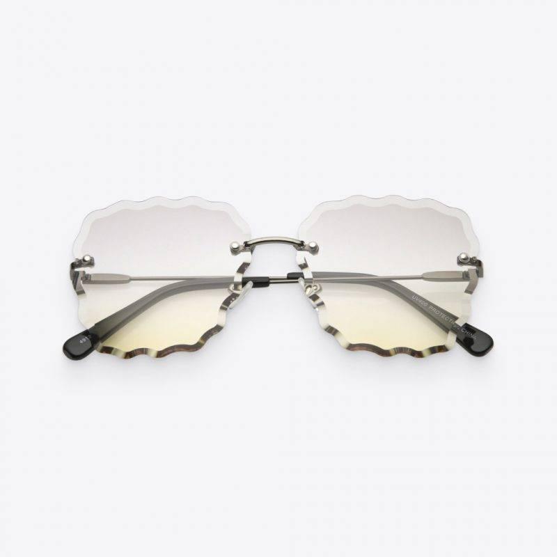 Women's Gunmetal & Light Smoke Scalloped-Gem Sunglasses Fashion Accessories Health & Beauty