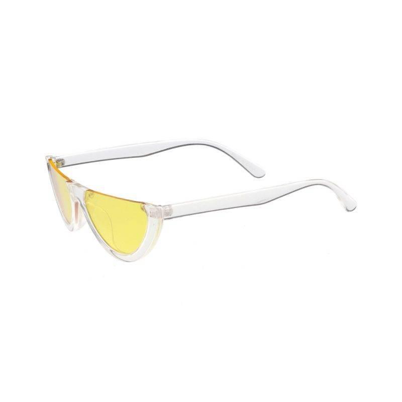Women's Yellow Retro Half-Frame Sunglasses Fashion Accessories Health & Beauty