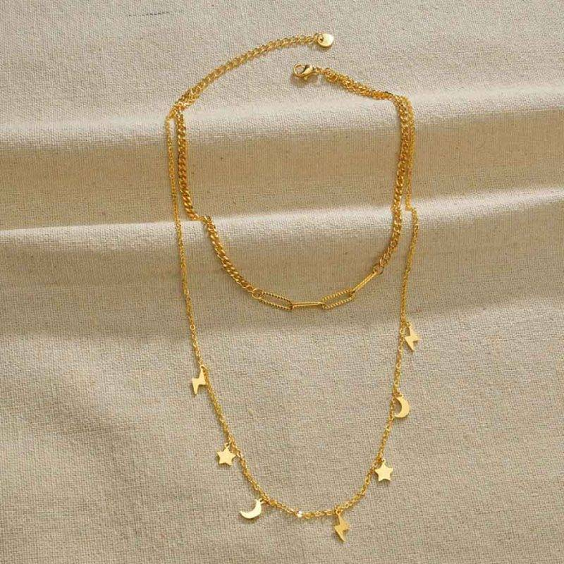Double Layered Gold Necklace Fashion Accessories Health & Beauty